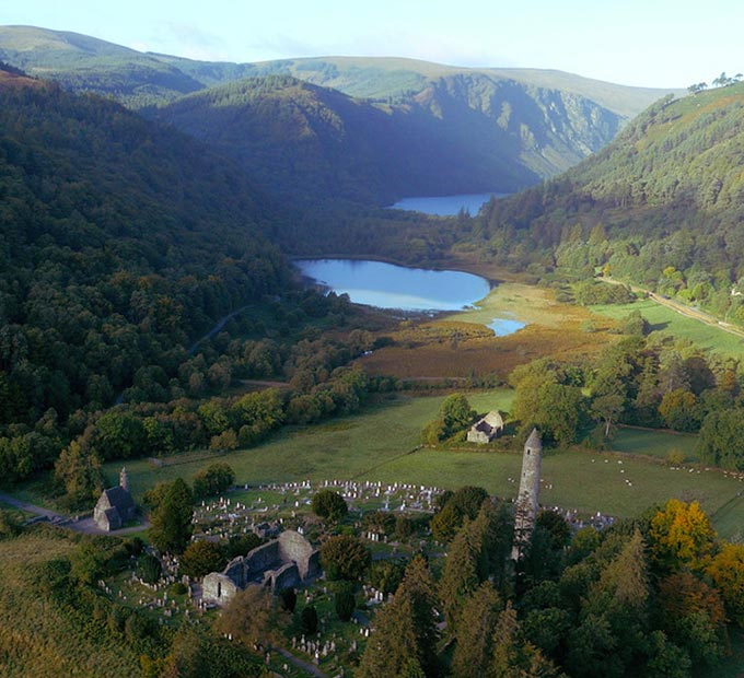 Glendalough view of Monastic site with mountains and lakes